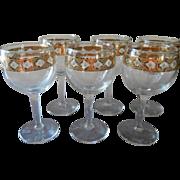 SOLD Culver Valencia 6 Stem Wine Cocktail Glasses Vintage Barware