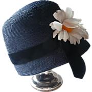 Hat Blue Bucket Vintage Navy Daisies Velvet Ribbon Union