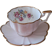 Blush Pink Bone China Cup Saucer Vintage Salisbury Scalloped