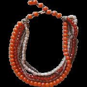 Kramer Glass Beads Necklace Vintage Orange TLC