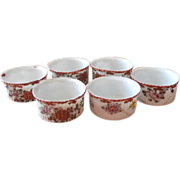 SOLD Ramekins Antique Japan Hand Painted Spice Colors China Set 6