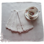 Napkins Lace Linen Simple Luncheon Vintage 1950s
