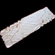 Art Deco Runner Vintage Hand Embroidery Peach White
