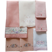 SOLD Vintage Towels Peach Pink Coral Hand Embroidery Etc