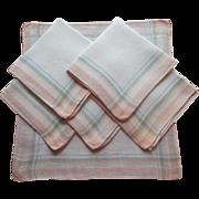 Breakfast Napkins Peach Jadite Green Plaid Vintage 1920s Linen