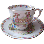 Rose Cottage Bell Bone China Cup 2 Saucer Vintage