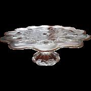 SOLD Cake Pedestal Silver Overlay Glass Vintage Simple Scallop Petal Shape