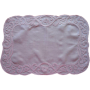 Pink Linen Madeira Tray Cloth Vintage Appliqued Placemat