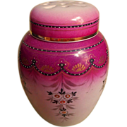 Potpourri Jar Antique China Magenta Hand Painted