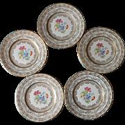 Dessert Plates Fondeville Laurelton China Vintage Lacy Gold Floral