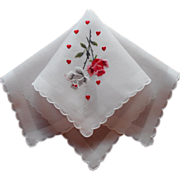 SOLD Handkerchief Hearts Roses Valentine's Vintage Hankie Embroidered