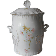 SOLD Biscuit Barrel Cracker Jar Hand Painted Antique China Pink White