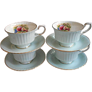 4 Royal Standard Cups Saucers Bone China Blue White Fruit