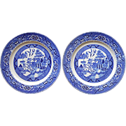 Homer Laughlin Blue Willow 2 Dinner Plates Vintage