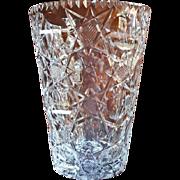 Brierley Cut Glass Big Vase Vintage Signed Heavy Stunning Geometric
