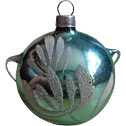 SOLD Aqua Christmas Ornament Vintage Glass West Germany Teapot Style