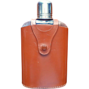 SOLD Hip Flask Vintage England Leather Case 12 Ounce Glass Chrome