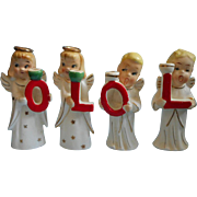 SOLD Christmas Candle Holders Vintage China Do Not Spell Noel OLOL