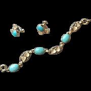 Gold Filled Turquoise Vintage Van Dell Bracelet Earrings Set