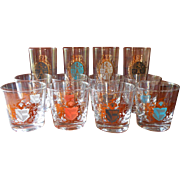 MCM Barware Glasses Set Crests Gold Color Highballs Old Fashioned