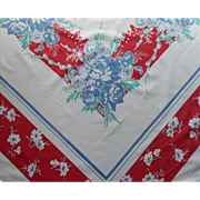 SOLD Printed Tablecloth Vintage Cotton Kitchen Print Red White Blue