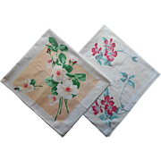 SOLD 2 Print Tablecloth Toppers Vintage Cotton Kitchen Print
