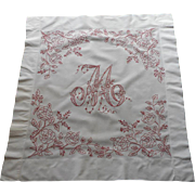 SOLD Monogram M Redwork Embroidery Antique Pillow Sham Roses
