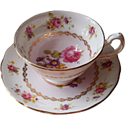 Pink White Gold Bone China Cup Saucer Vintage Grosvenor