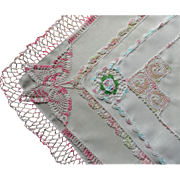 SOLD Hankies 5 Vintage Pink Crocheted Lace Edging Butterfly Hankie
