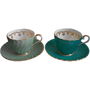 2 Aynsley Cup Saucer Turquoise Blue Green Bone China Vintage