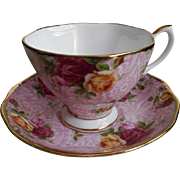 Dusky Pink Lace Cup Saucer Royal Albert Vintage Old Country Roses