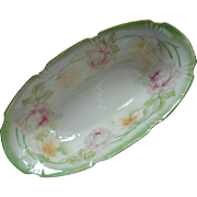 SOLD Roses Luster China Dish Pink Green White Antique German