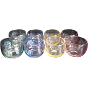 SOLD MCM Roly Poly Glasses Set 8 Federal Gem Tone Cocktail Iridescent