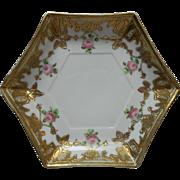 SOLD Pink Roses Lots Of Gold Nippon Era China Dish Hexagon Shape