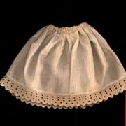 Antique Cotton Doll Slip with Embroidered hem