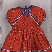 Vintage Red Cotton Print Doll Dress
