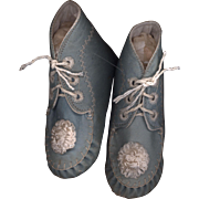 SOLD Antique Blue Leather Baby Shoes