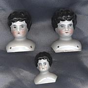 SALE Set of Three Antique China Heads