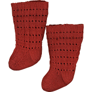 SOLD Vintage Red Wool Doll Stockings