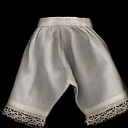 Antique White Cotton Doll Pantaloons with Crochet Edge