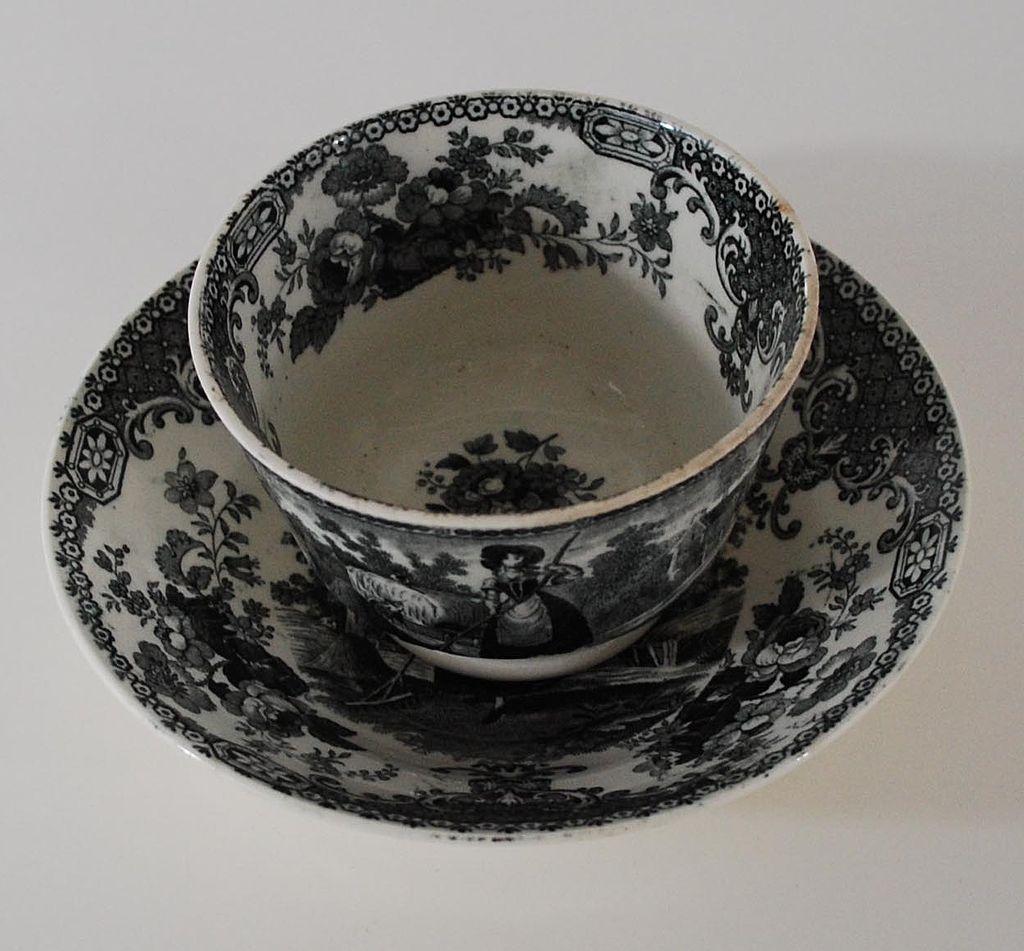 Antique: Romantic, English Staffordshire Fingerless Cup & Saucer (Tea Bowl & Saucer), Black & White Transferware