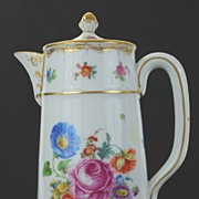 Antique Porcelain Dresden Germany Hand Decorated Pitcher with Lid