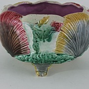 Antique: Majolica Footed Shell & Seaweed Fruit Bowl