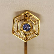 Antique 14K Blue Sapphire Lady's Stick Pin