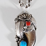 Sterling Silver Indian Pendant, Vintage