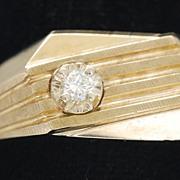 Man's Art Deco Style 10K Gold Ring, Vintage