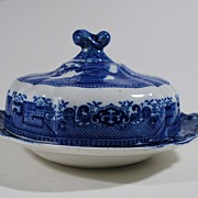 S.W. Ridgeway Porcelain Covered Butter Dish with Blue Willow Design, Vintage