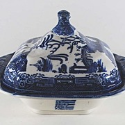 Antique Porcelain Blue Willow Covered Vegetable