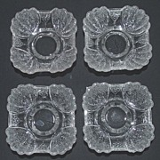 Antique Pressed Glass Sauce Dishes, Shell & Tassel Pattern, Set of Four