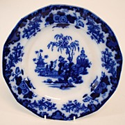 Antique Porcelain Flow Blue Plate, Scinde
